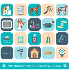 Set of veterinary and grooming icons flat design vector