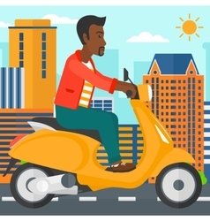Man riding scooter vector