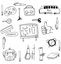 Doodle of element hand draw school vector