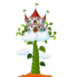 Bean sprout with castle in the clouds cartoon vector image