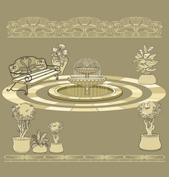 bench fountain railings garden accessory on vector image vector image