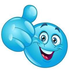 blue thumb up emoticon vector image vector image