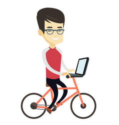 Business man riding bicycle in the city vector