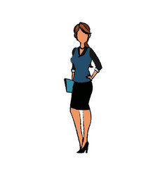 Business woman character standing people holding vector