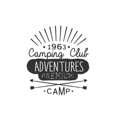 Camping club adventures vintage emblem vector