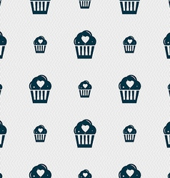 Cute lovely cupcake with heart icon sign seamless vector