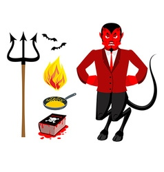Devil and accessories Satanic set Trident and vector image