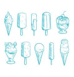 Doodle ice cream cones set hand drawn vector