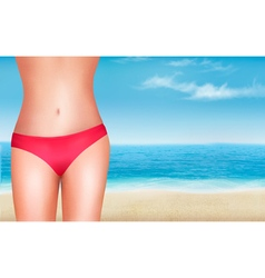 Female body in a swimsuit in front of a seaside vector
