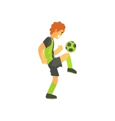 Football player with ball on the knee isolated vector