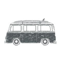Grunge camper van vector