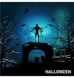 Halloween grunge background with evil angel and vector image vector image