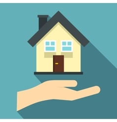 Hand holding house icon flat style vector