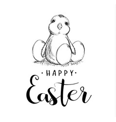 happy easter holiday sketch chicken and eggs vector image vector image