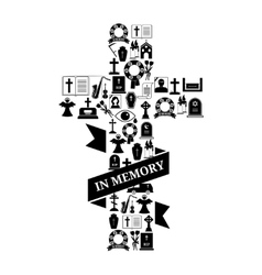 In memory concept - funeral cross icon with text vector