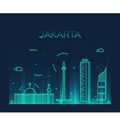 Jakarta skyline trendy linear vector image