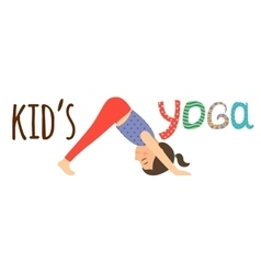 Kids yoga logo design with girl vector