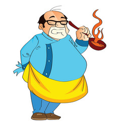 male cook holding a hot pan vector image vector image