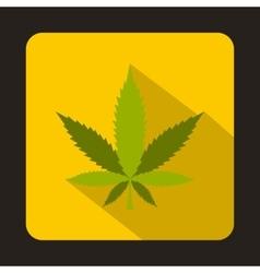 Marijuana leaf icon in flat style vector image vector image
