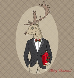 Merry christmas deer dressed up in tuxedo with a vector