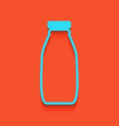 Milk bottle sign whitish icon on brick vector