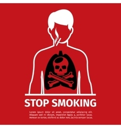 No smoking poster man with skull and cross bones vector