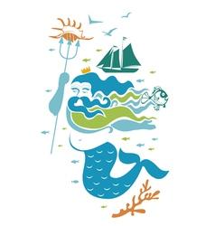 Ocean king character vector image