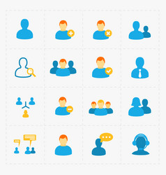people flat icons set on white vector image