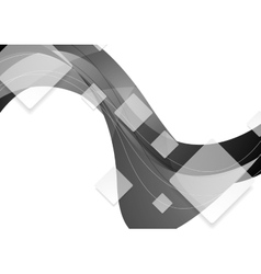 Tech geometric wavy grey background vector image