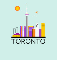 toronto travel background vector image vector image
