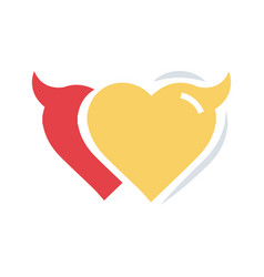 Twins heart of devil love flat icon vector
