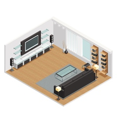 Living room interior isometric view poster vector