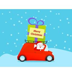Santa drive christmas car with gift vector