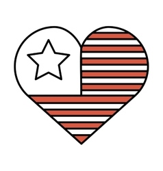 heart with usa flag icon vector image