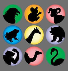 Animal Silhouette Color 2 Icons vector image