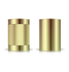 metallic cans set gold tin can blank for vector image