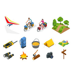 Isometric hang glider bikers on bicycle with vector