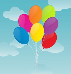 Colorful balloons on blue sky background vector