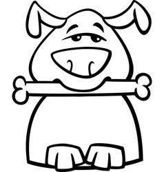 Busy dog cartoon coloring page vector