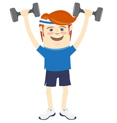 Hipster funny man lifting dumbbells flat style vector