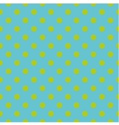 Tile pattern green polka dots on blue background vector