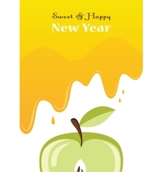 Honey drips over an apple rosh hashanah card vector