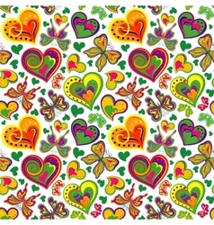 Seamless valentine pattern with vintage colorful vector