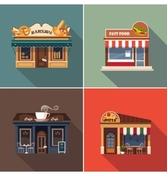 Stores and shop facades set vector
