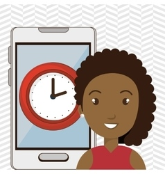 Woman smartphone and watch isolated icon design vector