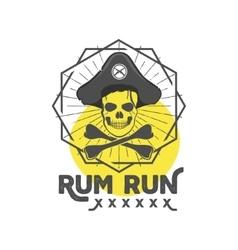 Pirate skull insignia or poster retro rum label vector