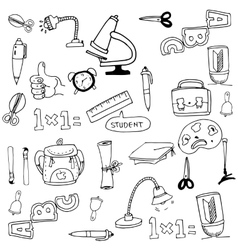 Collection stock school tools in doodle vector
