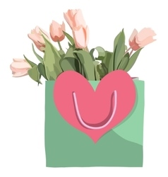 Bag and tulips flowers isolated on the white vector image