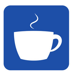 Blue white information sign - cup with smoke icon vector
