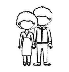 Blurred black contour faceless curly couple taken vector